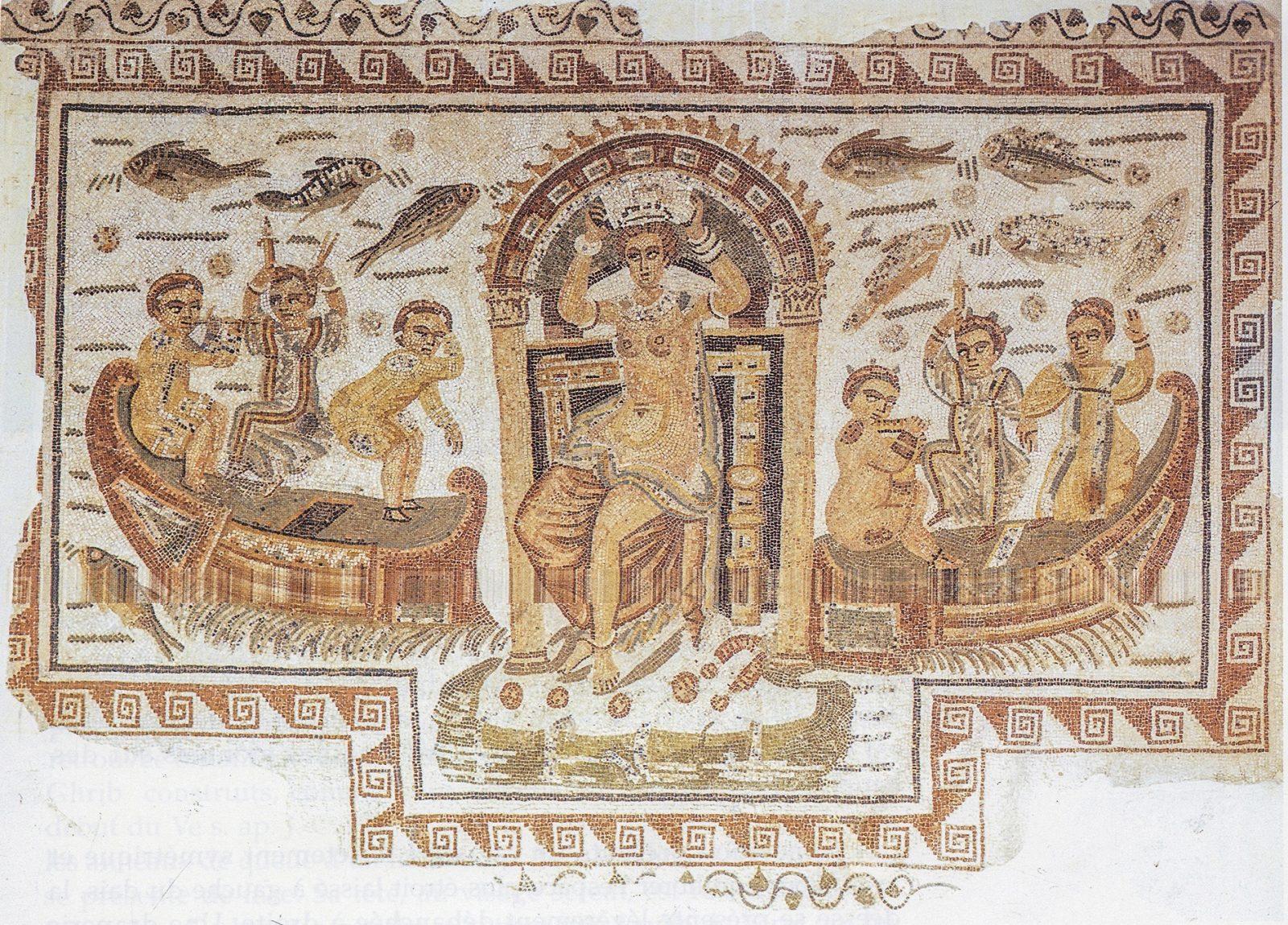Vénus assise sur un trône entourée d'Amours